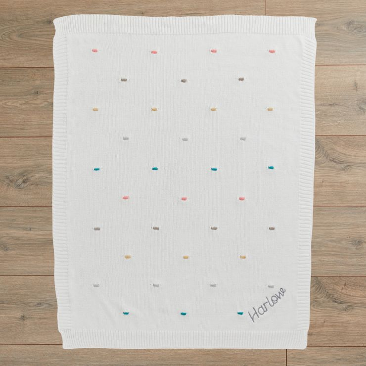 Personalised Multi-coloured Bobble Baby Blanket Flat View