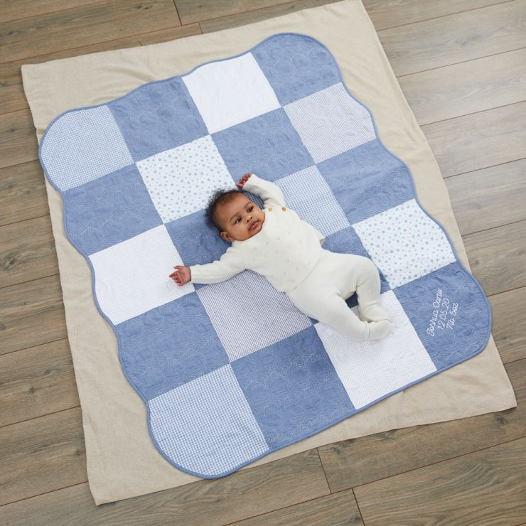 Personalized Blue Patchwork Quilt Model
