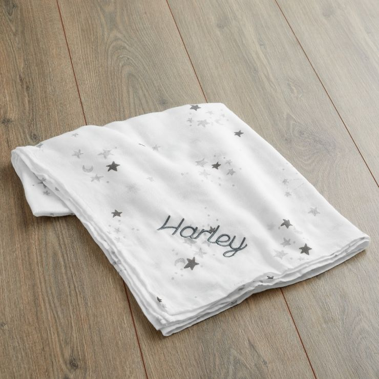 Personalized Star Print Bamboo Blend Muslin Blanket