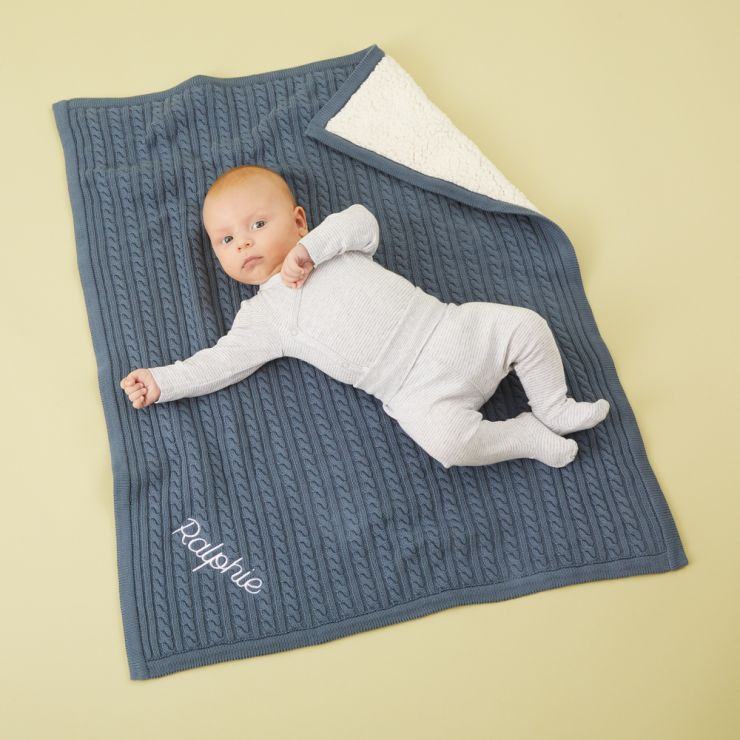 Personalised Navy Blue Fur Lined Cable Knit Blanket Model