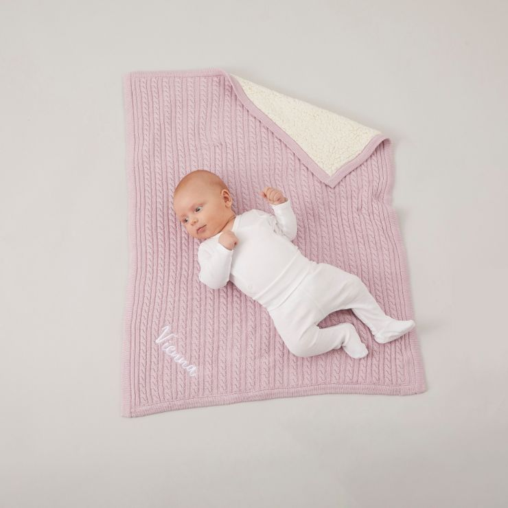 Personalized Pink Fur Lined Cable Knit Blanket Model