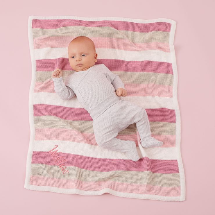 Personalized Pink Stripe Knitted Blanket Model