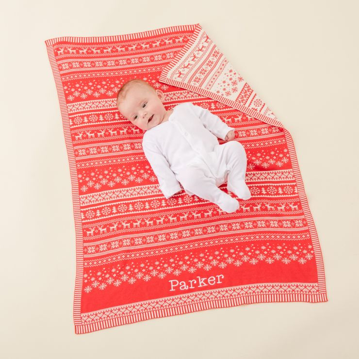 Personalized Red Fairisle Christmas Blanket Model