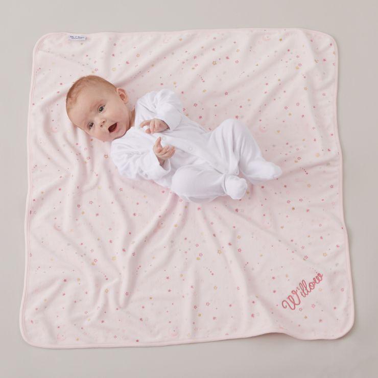 Personalised Pink Celestial Print Velour Blanket Model