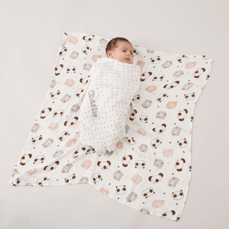 Personalised Monochrome Bamboo Muslin Swaddle Blankets (2pk) Model