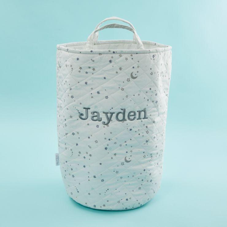 Personalised Tall Grey Star Print Storage Bag
