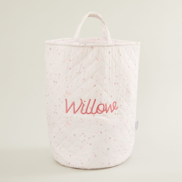 Personalized Tall Pink Star Print Storage Bag