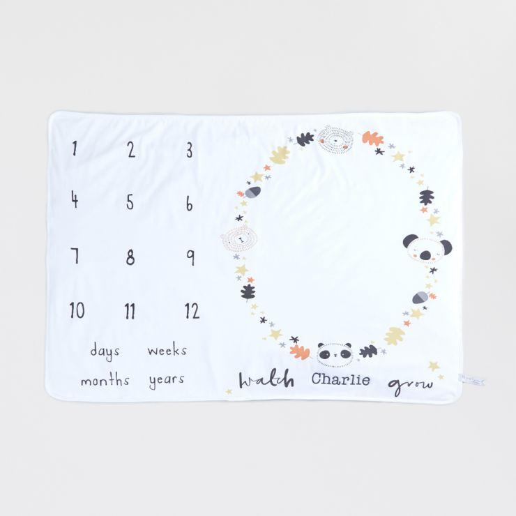 Personalized Monochrome Baby Milestone Blanket Flat