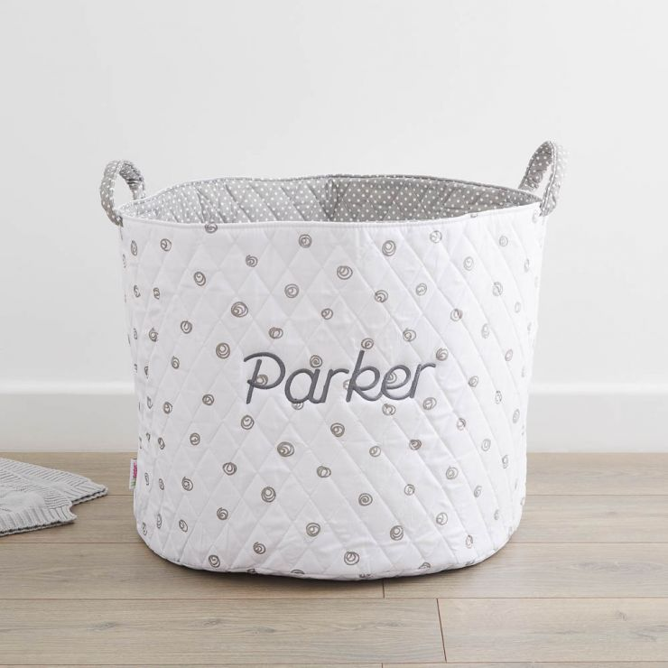 Personalised Large White Swirl Print Storage Bag