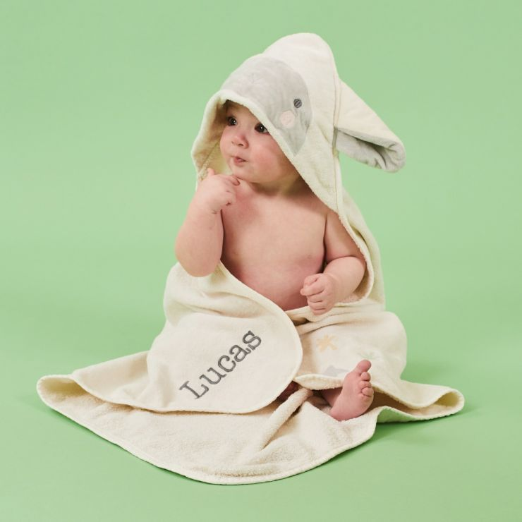Personalized Ivory Little Lamb Hooded Towel
