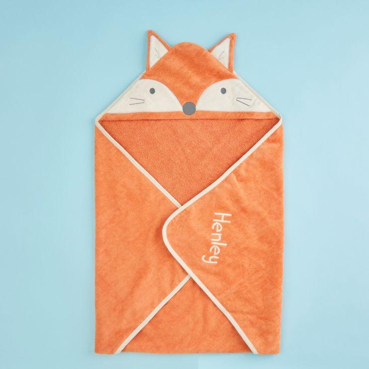 Personalised Fox Design Hooded Towel