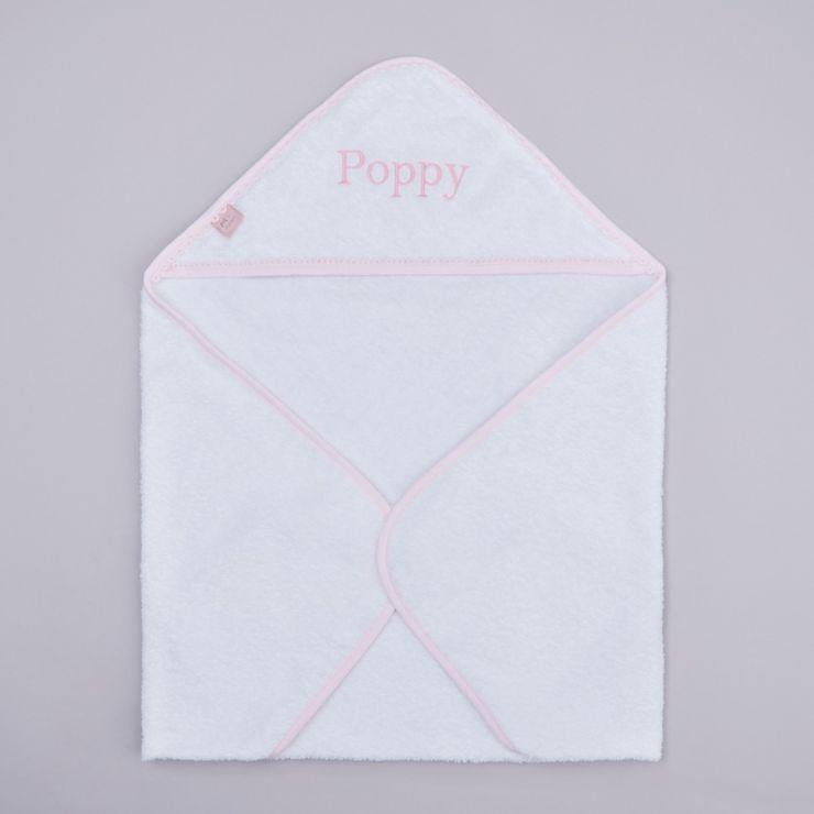 Personalised Pink Picot Trim Hooded Towel
