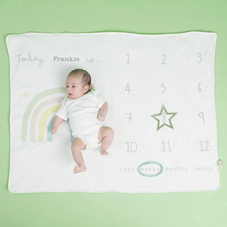 Personalised Rainbow Milestone Blanket