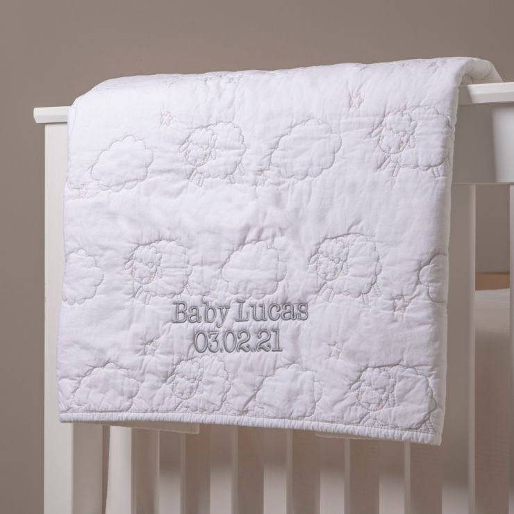 Personalised Little Lamb Design Quilted Blanket