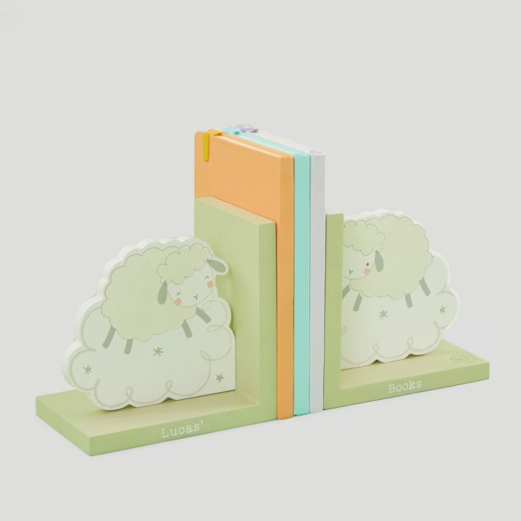 Personalized Wooden Sheep Bookends