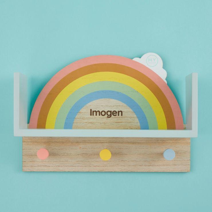 Personalised Rainbow Wooden Shelf with Hooks