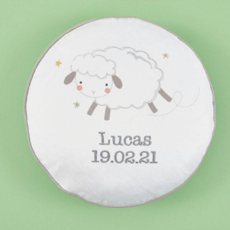Personalized Little Lamb Pom Pom Cushion