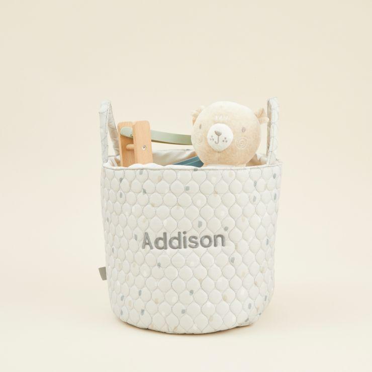 Personalised Medium Grey Polka Dot Storage Bag