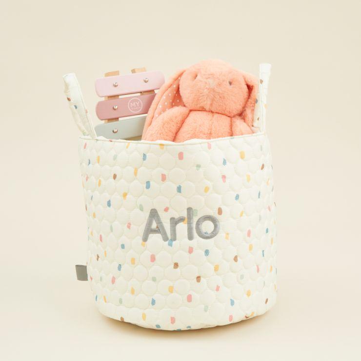 Personalised Medium Rainbow Polka Dot Storage Bag