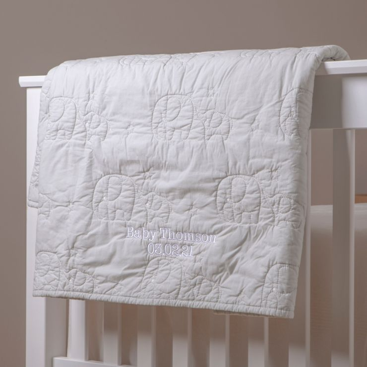 Personalised Little Elephant Design Quilted Blanket