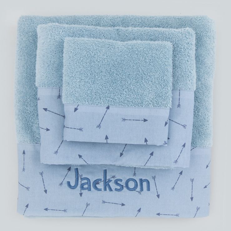 Personalized Pack of 3 Towels in Arrow Print