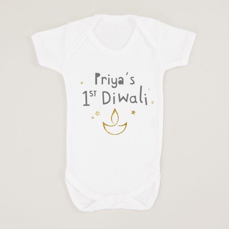 Personalised White 1st Diwali Bodysuit