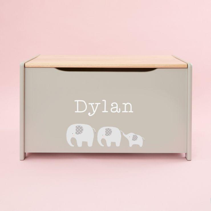 Personalised Grey Elephant Toy Box