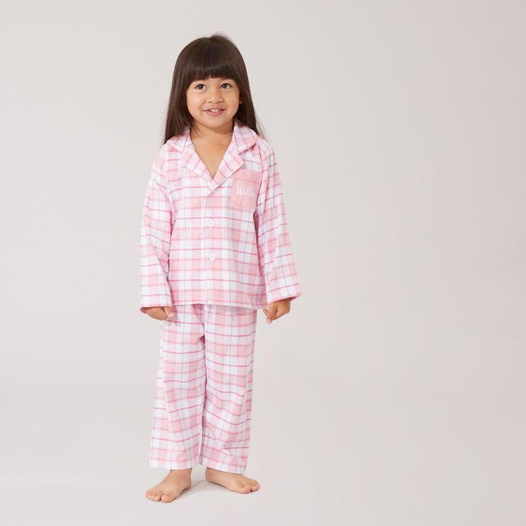 Personalized Traditional Pink Check Pajamas