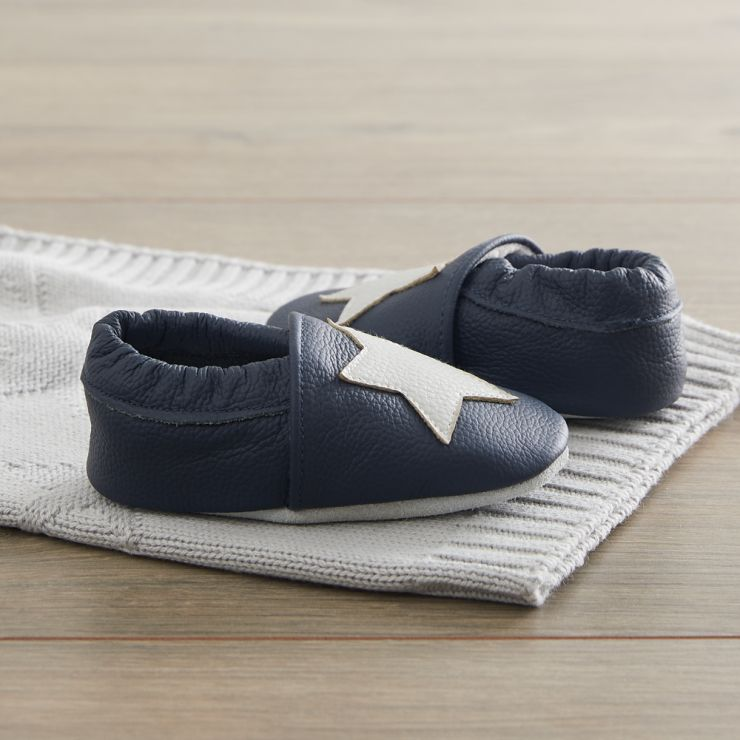 Personalized Blue Leather Shoes with Star Detail