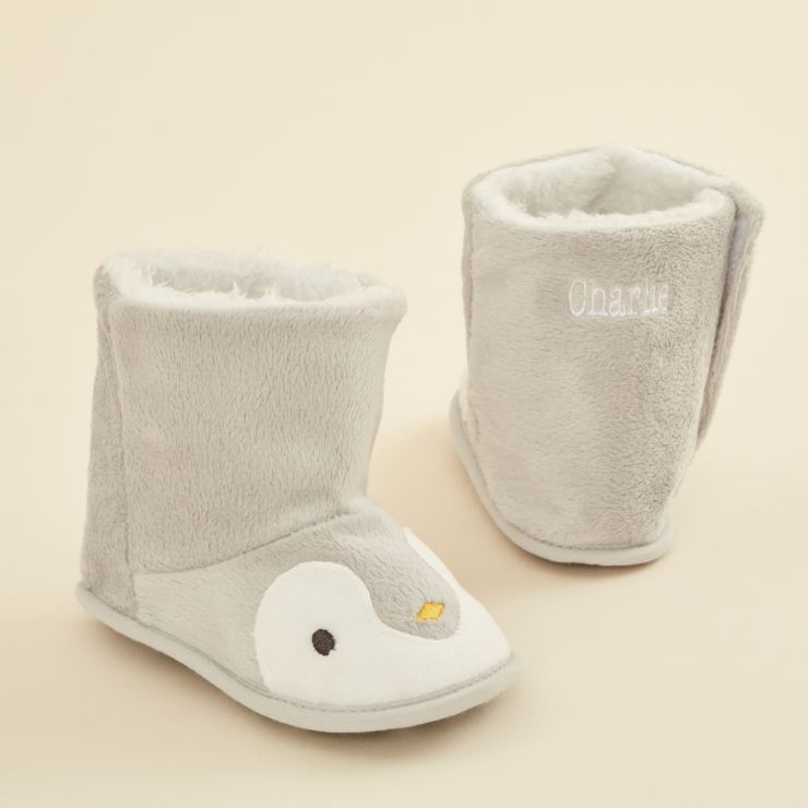Personalised Grey Penguin Booties