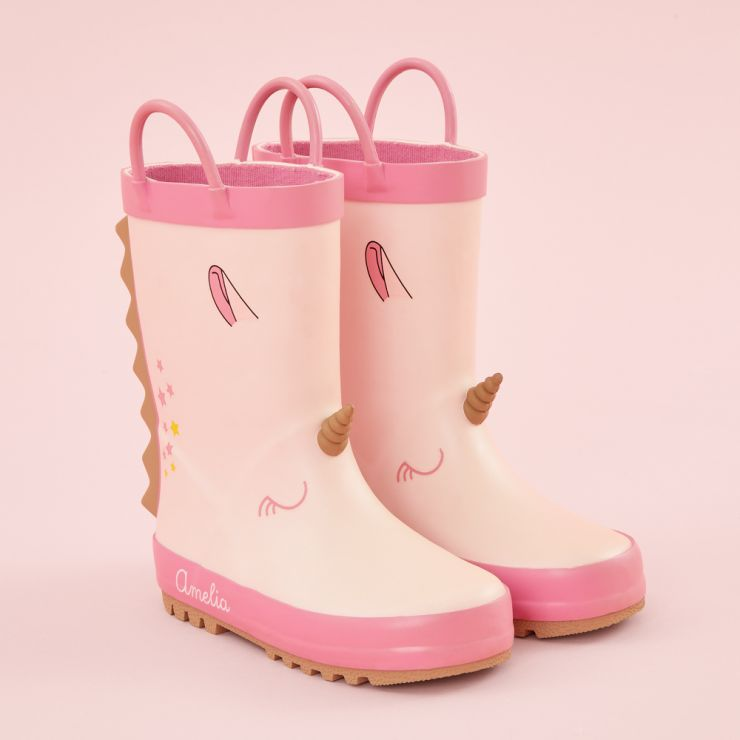 Personalized Pink Unicorn Wellies