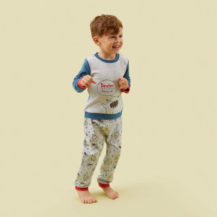 Personalised Grey Monsters Pyjama Set Model