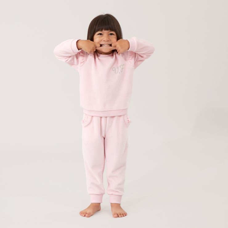 Personalized Pink Ruffle Detail Velour Tracksuit Model