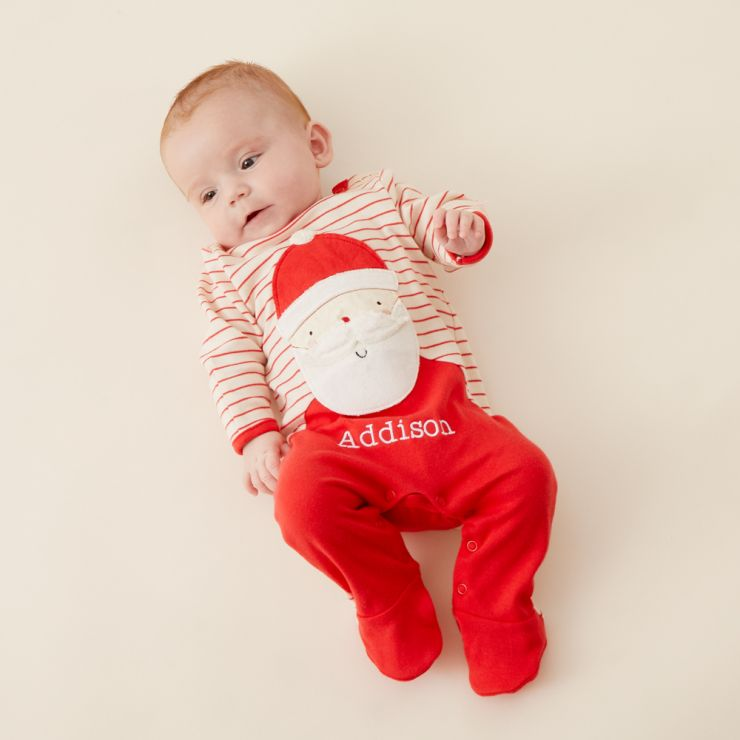 Personalised Red Striped Santa Claus Christmas Sleepsuit Model