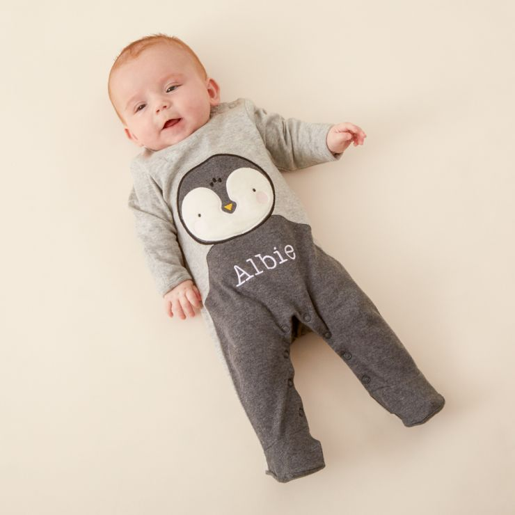 Personalised Grey Penguin Christmas Sleepsuit Model