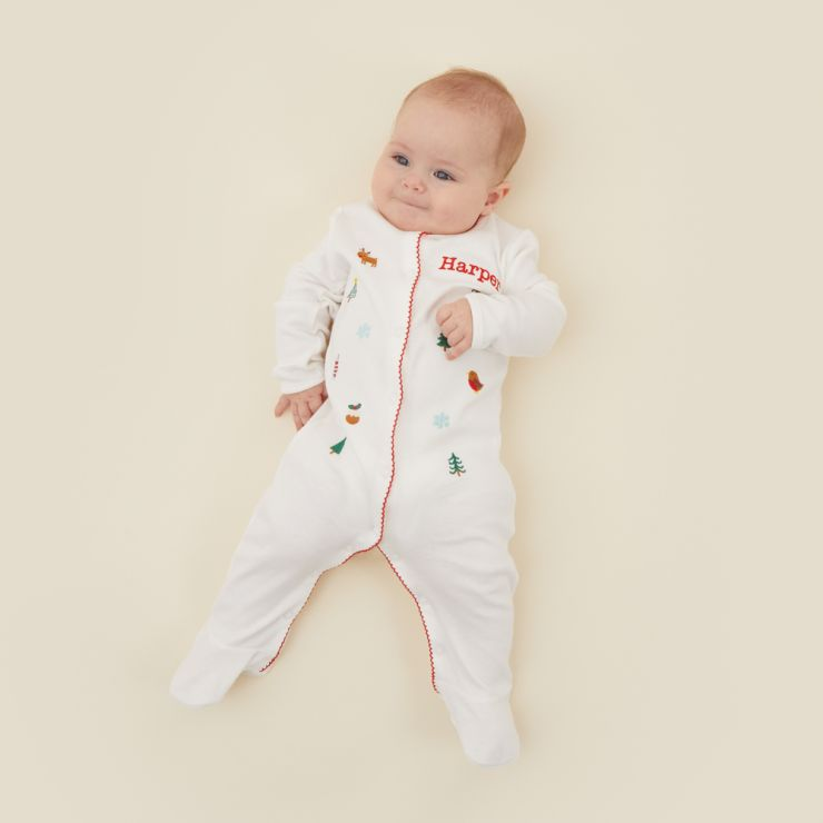 Personalised Embroidered Christmas Print Organic Sleepsuit Model