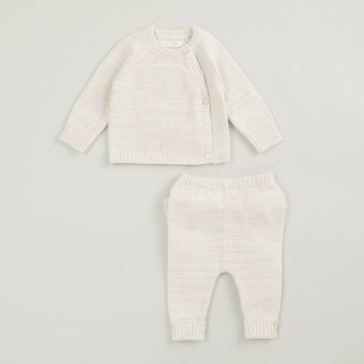 Pink Knitted Baby Outfit Set