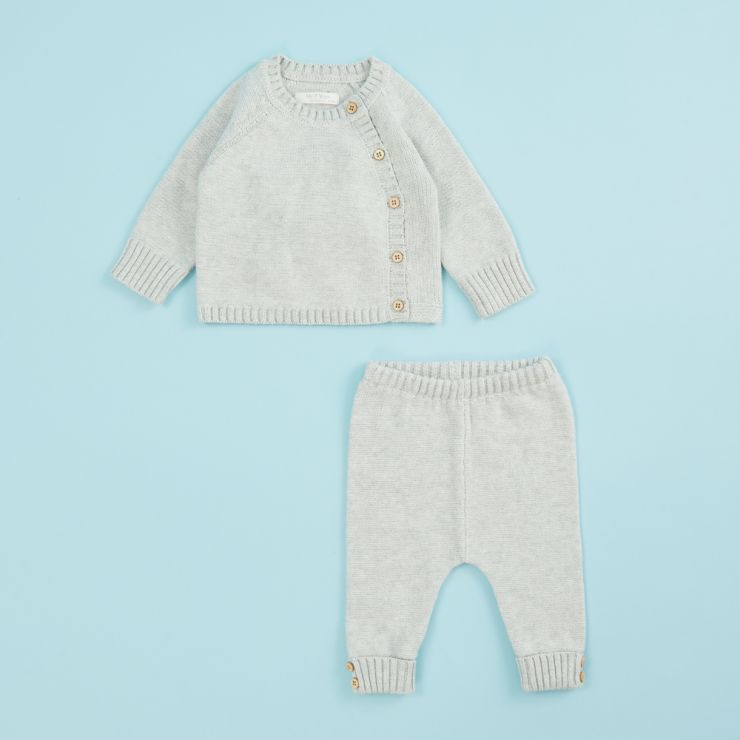 Gray Knitted Baby Outfit Set