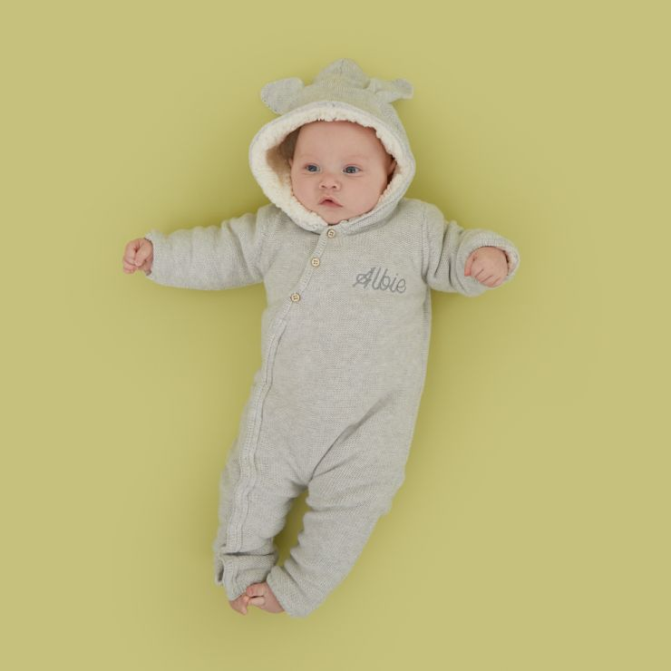 Personalised Grey Knitted Baby Romper Model
