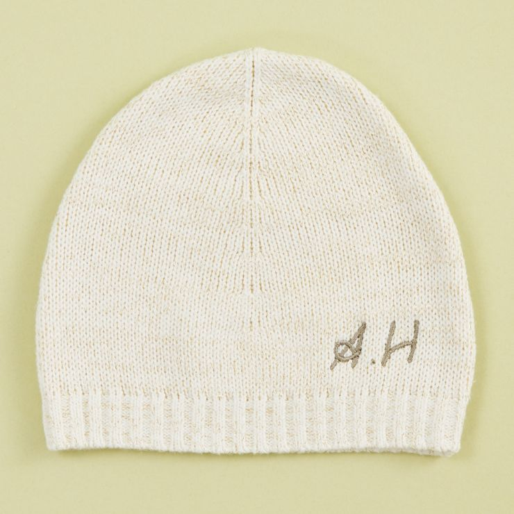Personalised Knitted Oatmeal Hat