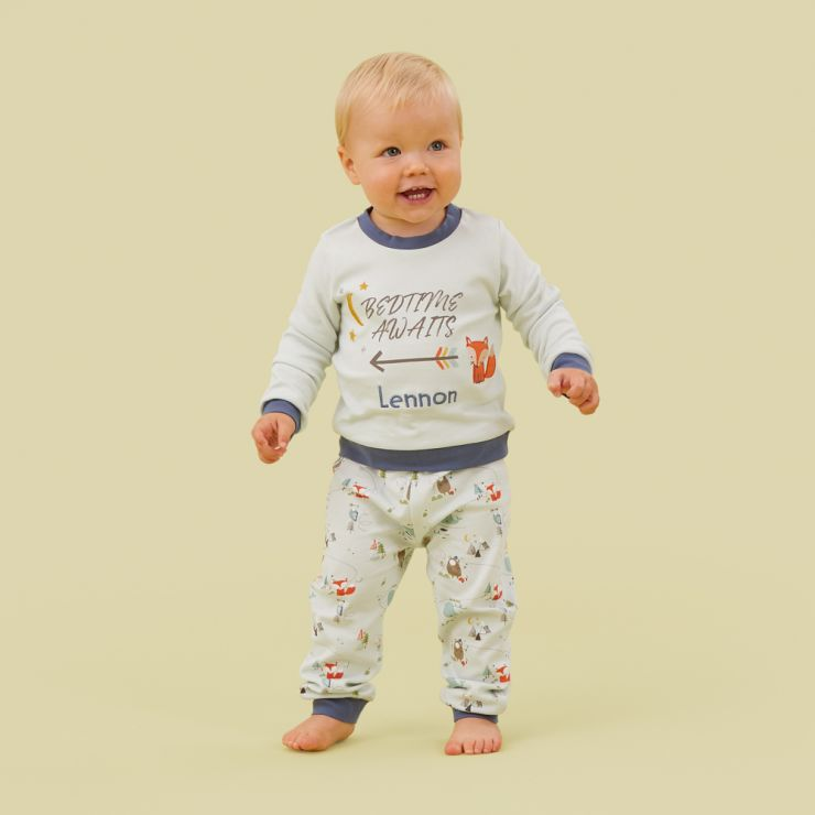 Personalized Blue Woodland Animals Pajama Set Model