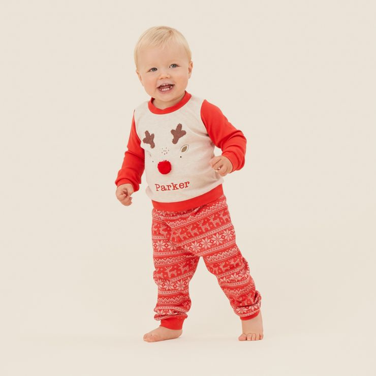 Personalised Red Reindeer Christmas Pyjama Set