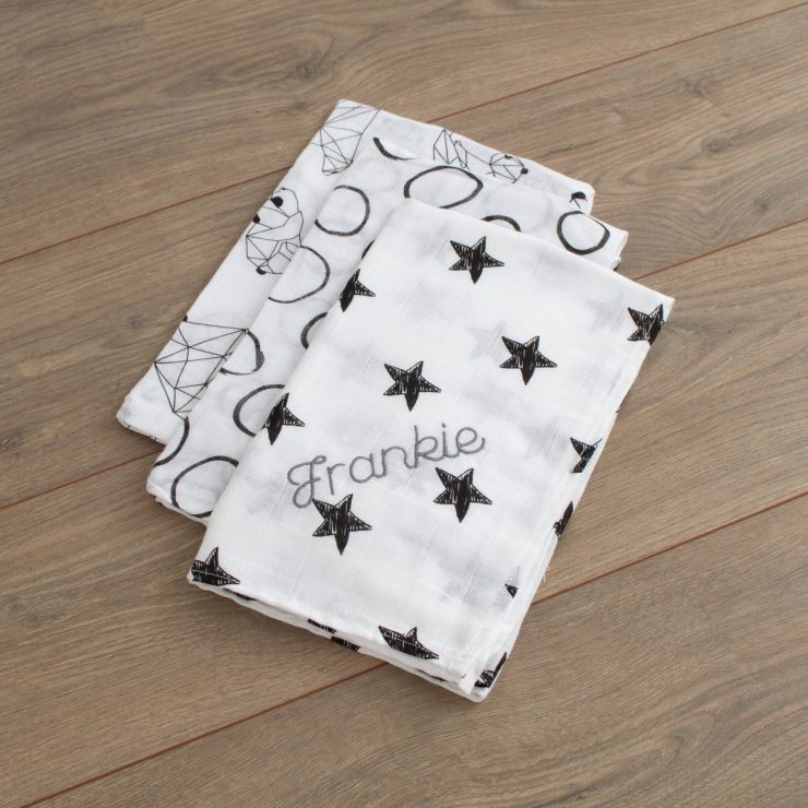 Personalized Pack of 3 Monochrome Star Print Muslin Swaddle Blankets folded