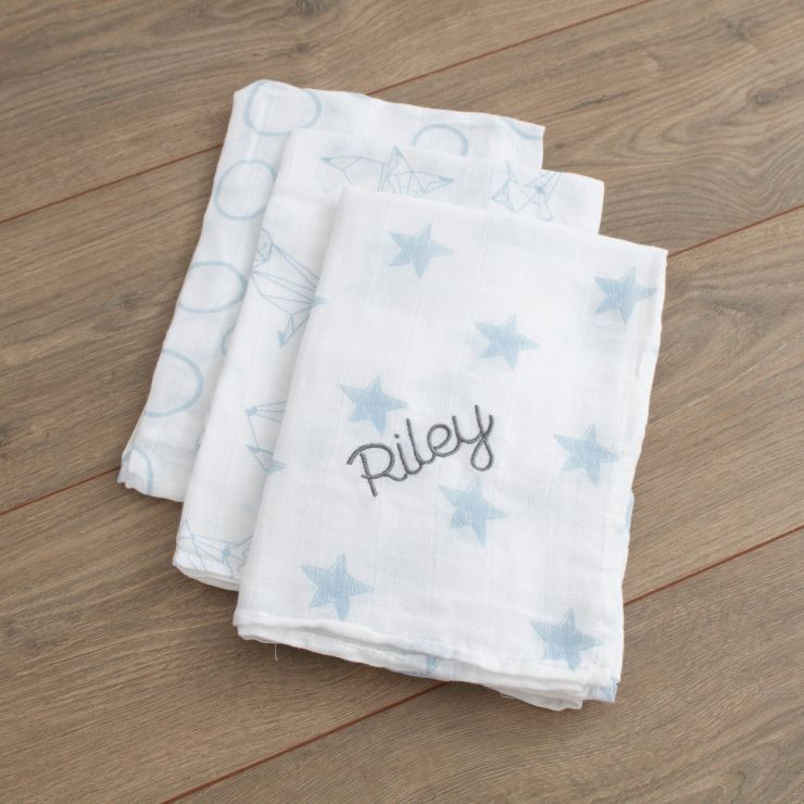 Personalised Pack of 3 Blue Star Print Muslin Swaddle Blankets Folded