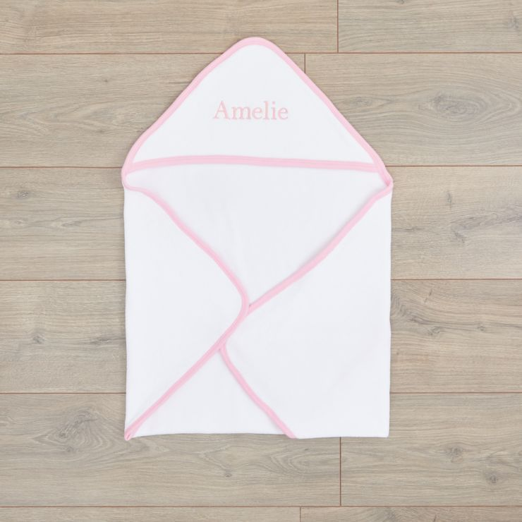 Personalized White Basic Hooded Towel With Pink Trim
