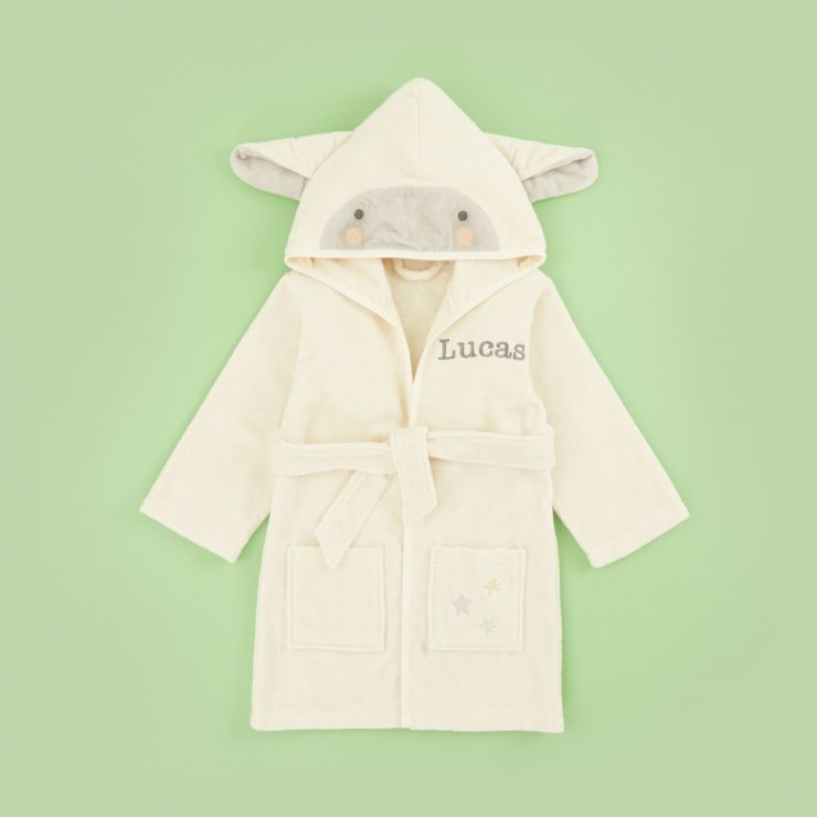Personalized Ivory Little Lamb Towelling Dressing Gown