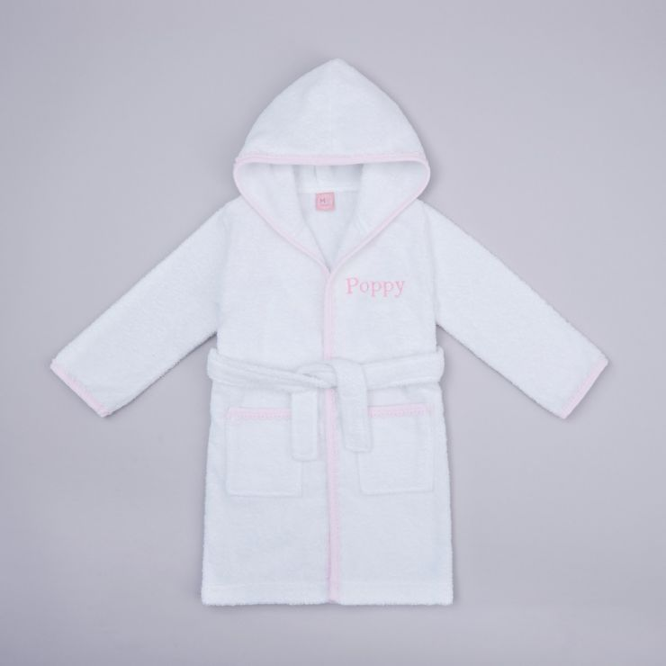 Personalised Pink Picot Trim Dressing Gown