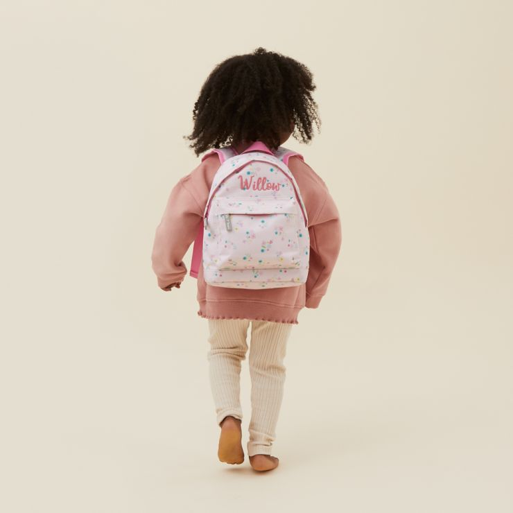 Personalized Pink Ditsy Mini Backpack Model