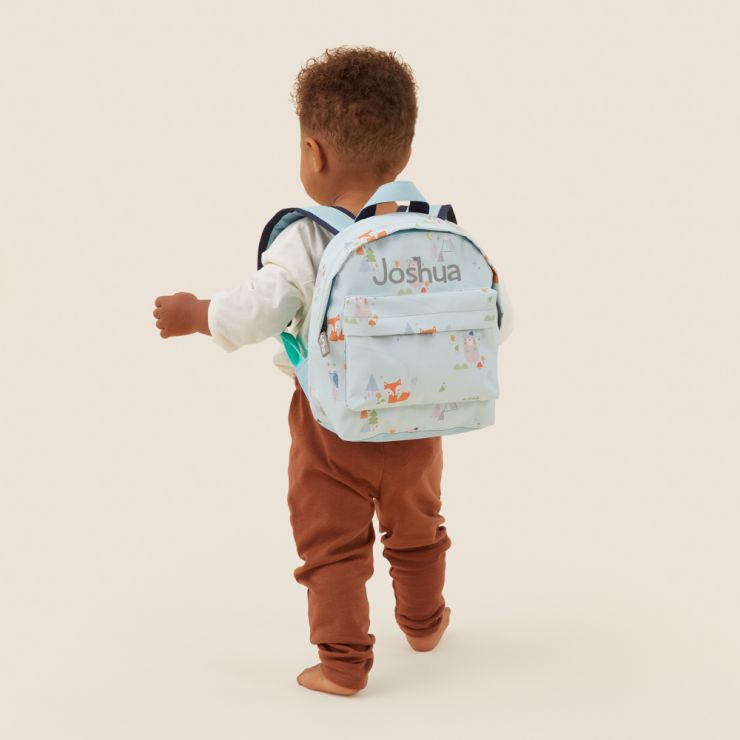 Personalised Blue Little Adventures Print Mini Backpack Model