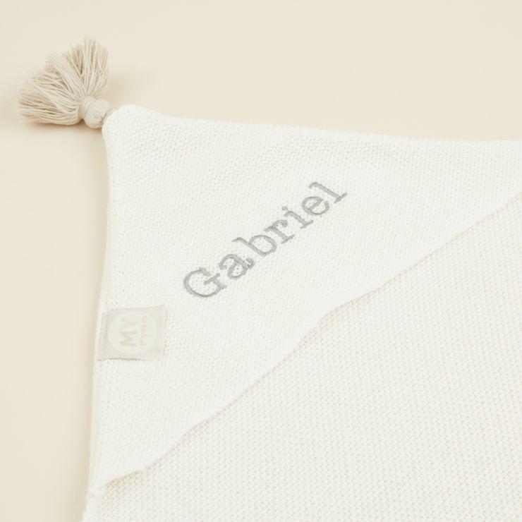 Personalised Ivory Organic Hooded Blanket